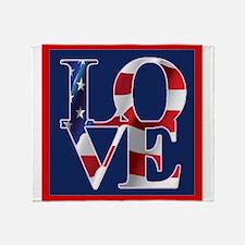 Patriotic Love America Throw Blanket