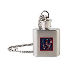 Patriotic Love America Flask Necklace
