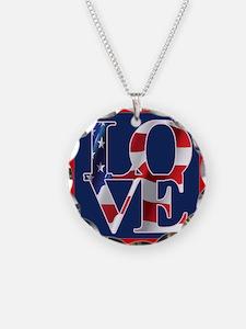 Patriotic Love America Necklace