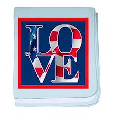 Patriotic Love America baby blanket