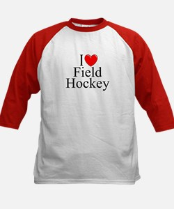 """I Love (Heart) Field Hockey"" Kids Baseball Jersey"