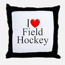 """""""I Love (Heart) Field Hockey"""" Throw Pillow"""