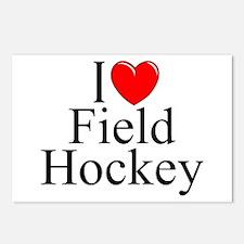 """I Love (Heart) Field Hockey"" Postcards (Package o"