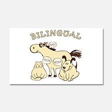 bilingual cat dog horse Car Magnet 20 x 12