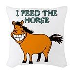 I feed the horse Woven Throw Pillow