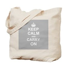 Keep Calm and Carry On - grey Tote Bag