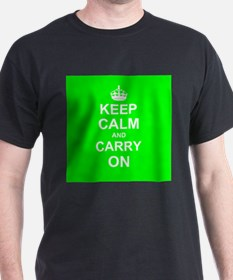 Keep Calm and Carry On - green T-Shirt
