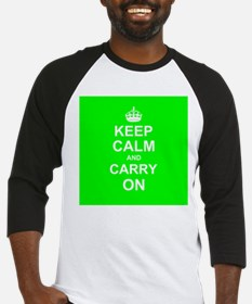 Keep Calm and Carry On - green Baseball Jersey