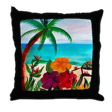 Tropical Floral Beach  Throw Pillow