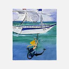Anchor Mermaid Throw Blanket