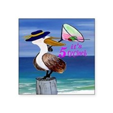 "Martini Pelican Art Square Sticker 3"" x 3"""