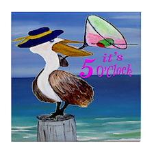 Martini Pelican Art Tile Coaster