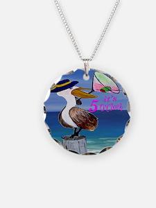 Martini Pelican Art Necklace