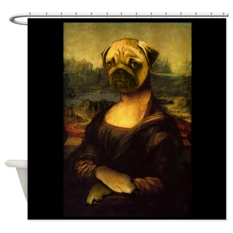 Mona lisa pug shower curtain by thehappymuse for Mona lisa shower curtain