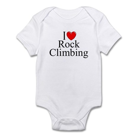 """I Love (Heart) Rock Climbing"" Infant Bodysuit"