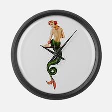 Vintage Pin Up Mermaid ~ Summer  Large Wall Clock