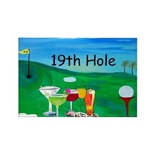 Golf art 19th hole Rectangle Magnet