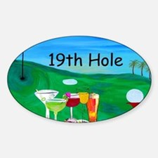 Golf art 19th hole Sticker (Oval)
