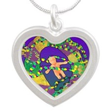 Mardi Gras king cake art Silver Heart Necklace