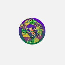 Mardi Gras king cake art Mini Button