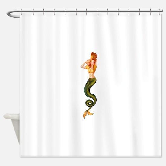 Vintage Pin Up Mermaid ~ Autumn  Shower Curtain