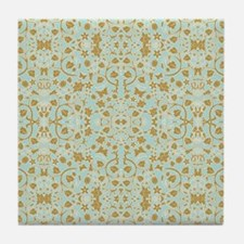 Modern Damask Floral Leaf Tendril Aqua n Gold Tile