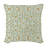 Aqua damask pattern Woven Pillows