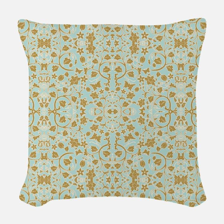 Modern Damask Floral Leaf Tendril Aqua n Gold Wove