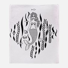 Mermaid Line Illustration Throw Blanket
