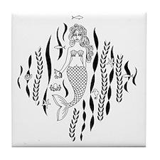 Mermaid Line Illustration Tile Coaster