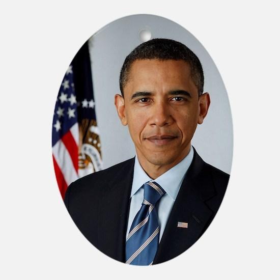 Cute Obama president Oval Ornament