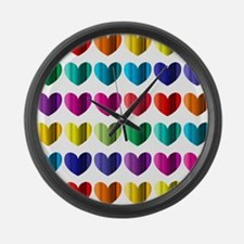 Foil Hearts Large Wall Clock