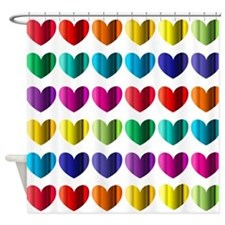 Foil Hearts Shower Curtain