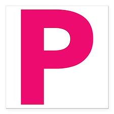 "Letter P Pink Square Car Magnet 3"" x 3"""