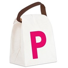 Letter P Pink Canvas Lunch Bag