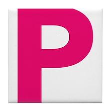 Letter P Pink Tile Coaster