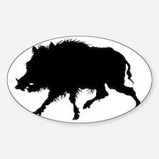 Wild Boar Running Wild Sticker (Oval)