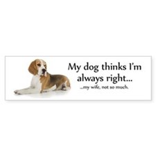 Beagle v Wife Bumper Bumper Sticker