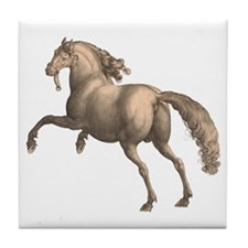 Andalusian Horse Galloping Stallion Tile Coaster