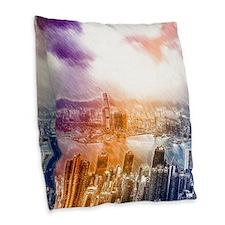 Colorful Hongkong Burlap Throw Pillow