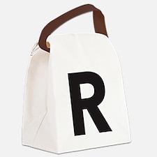 Letter R Black Canvas Lunch Bag