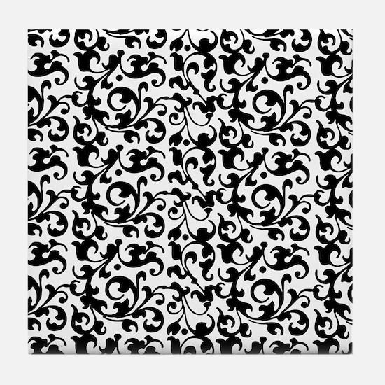 Elegant Scroll Damask Black and White Tile Coaster