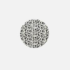 Elegant Scroll Damask Black and White Mini Button