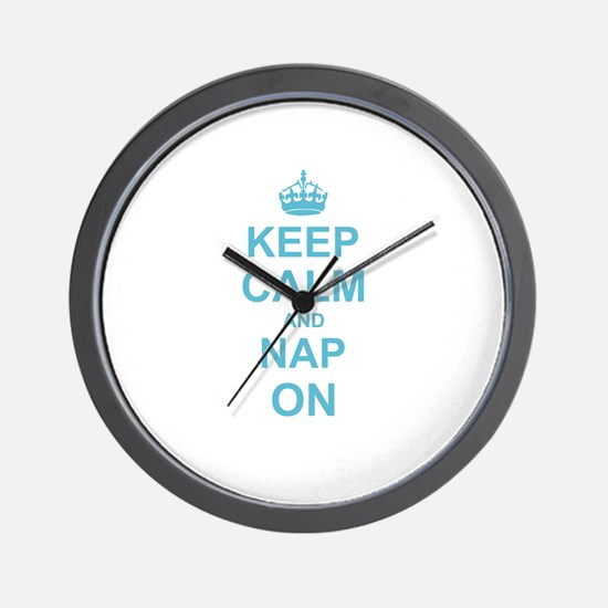 Keep Calm and Nap on Wall Clock
