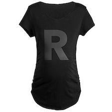 Letter R Dark Gray Maternity T-Shirt