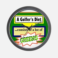 Golfers Diet/t-shirt Wall Clock