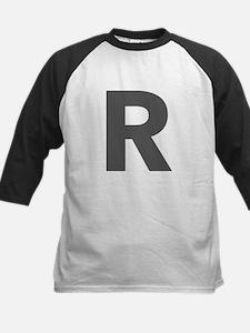 Letter R Dark Gray Baseball Jersey