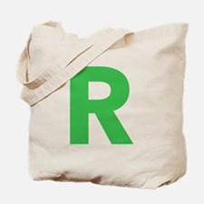 Letter R Green Tote Bag