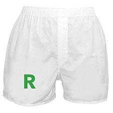 Letter R Green Boxer Shorts