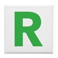Letter R Green Tile Coaster